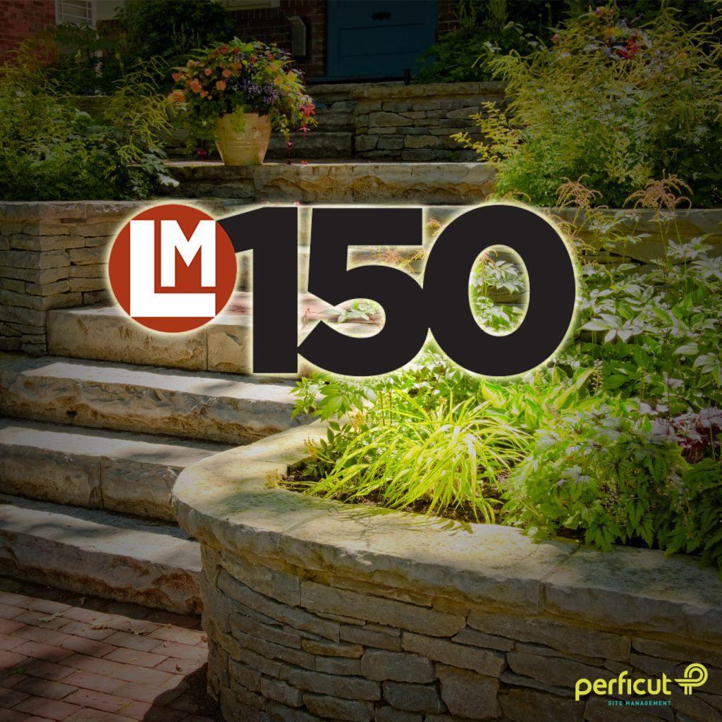 LM150 logo on top of garden photo