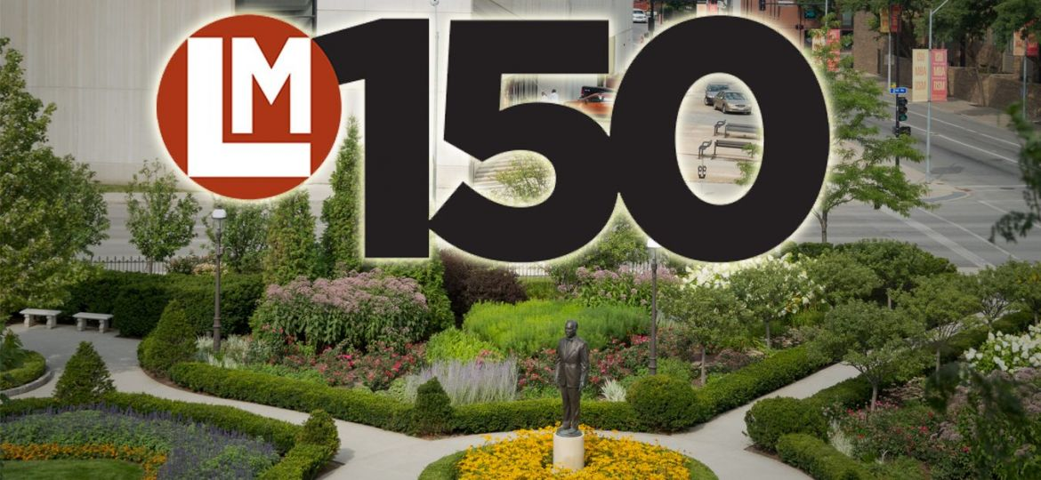 LM150 logo on top of World Food Prize garden image