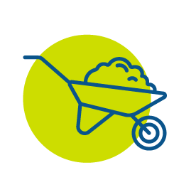 Blue wheelbarrow in green circle