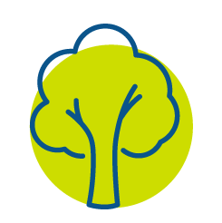 Blue tree icon in green circle