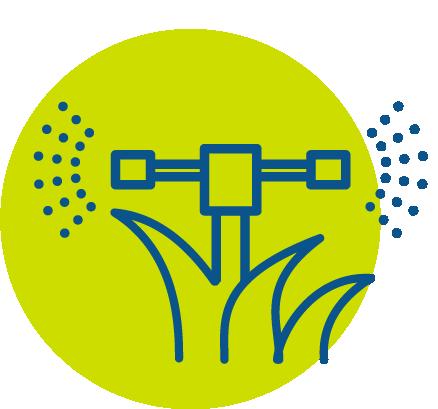 Blue irrigation sprinkler icon in green circle