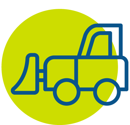 Blue snow plow icon in green circle