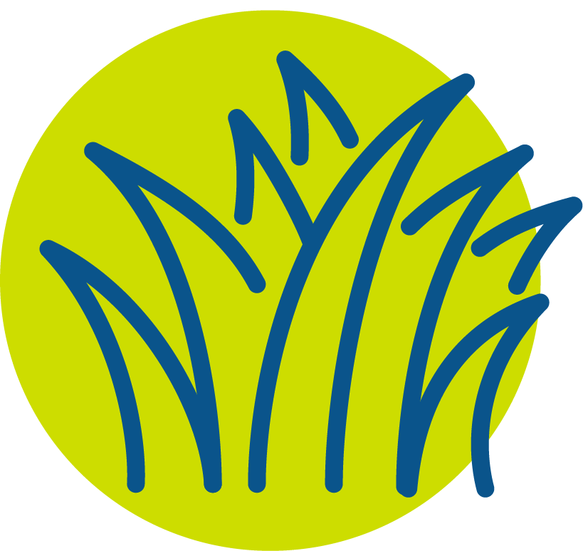 Blue blades of grass icon in green circle