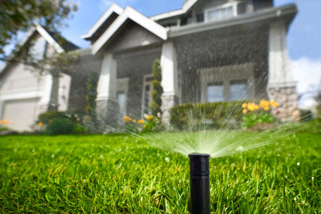 Residential Irrigation System In Front Of A House