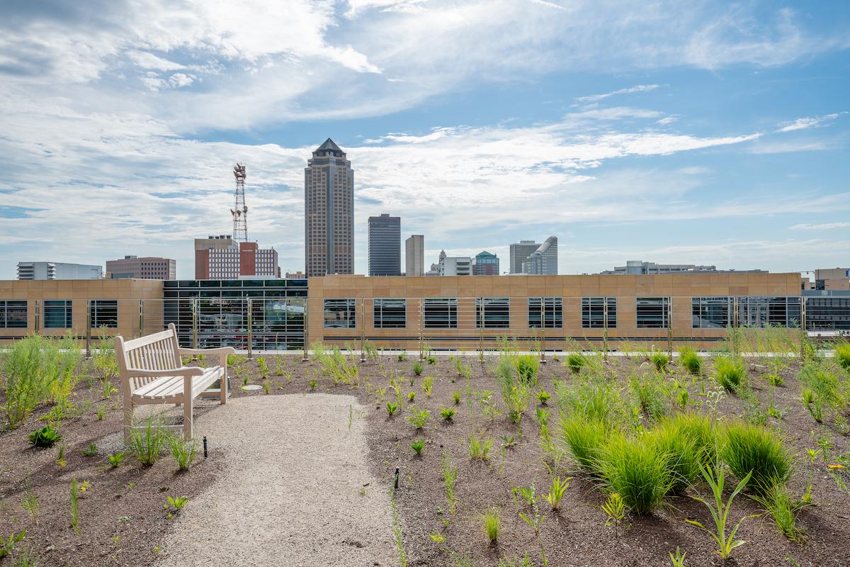 Rooftop garden overlooking Des Moines skyline