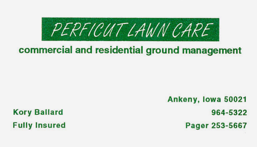 Old Perficut business card
